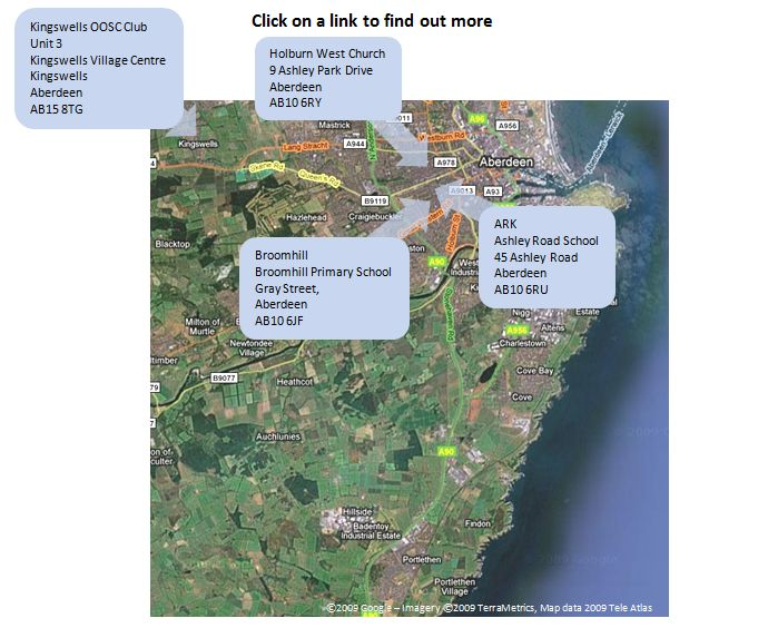 aberdeen map update Out of School Clubs locations Great Western Pre-School Nursery Aberdeen
